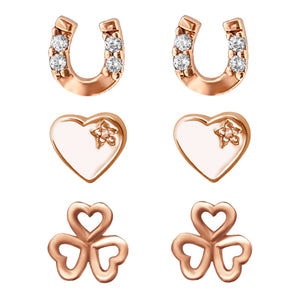 Link-up Rose Gold Plated Sterling Silver Lucky Set of three Stud Earrings