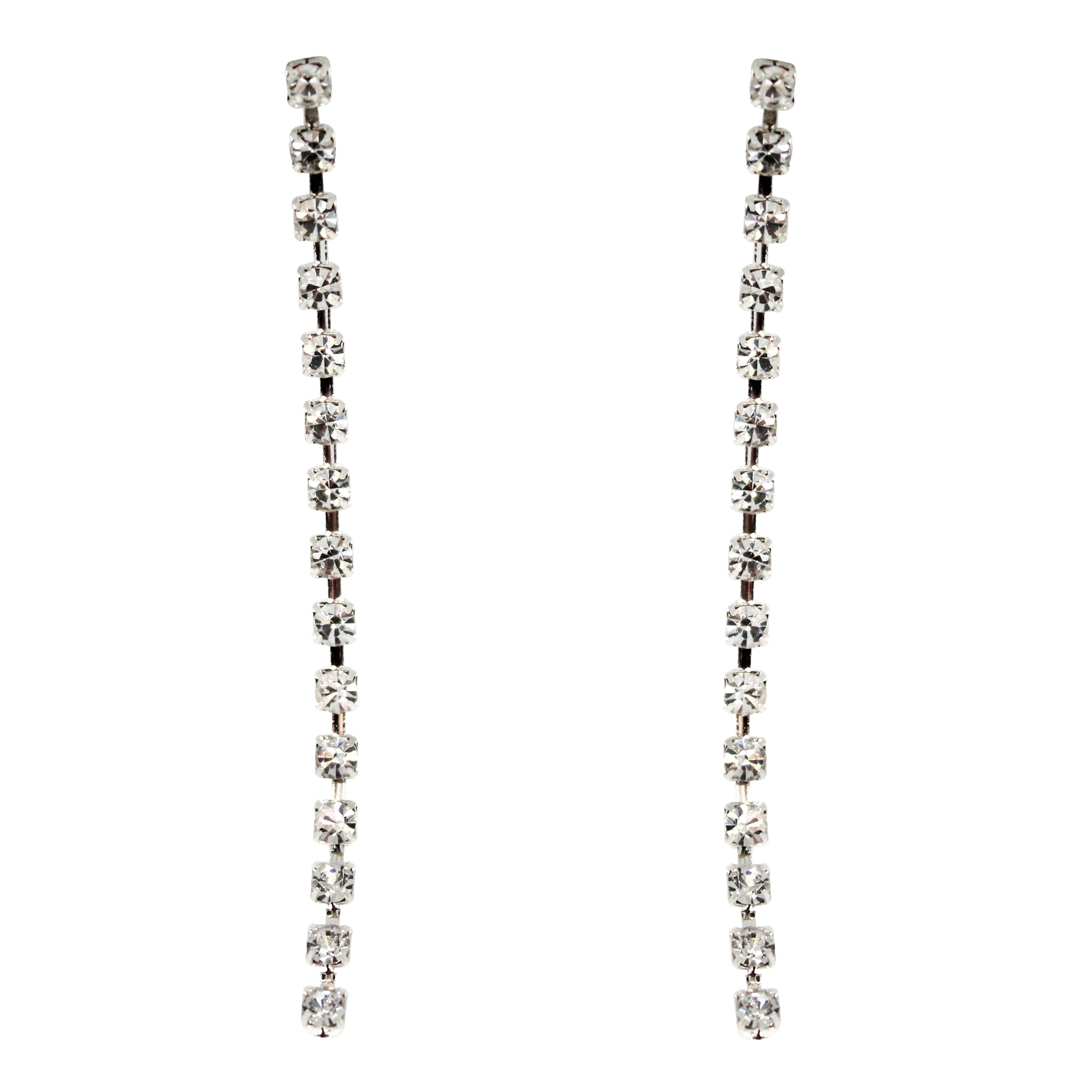 Hollywood Glamour Diamante Long Drop Earrings