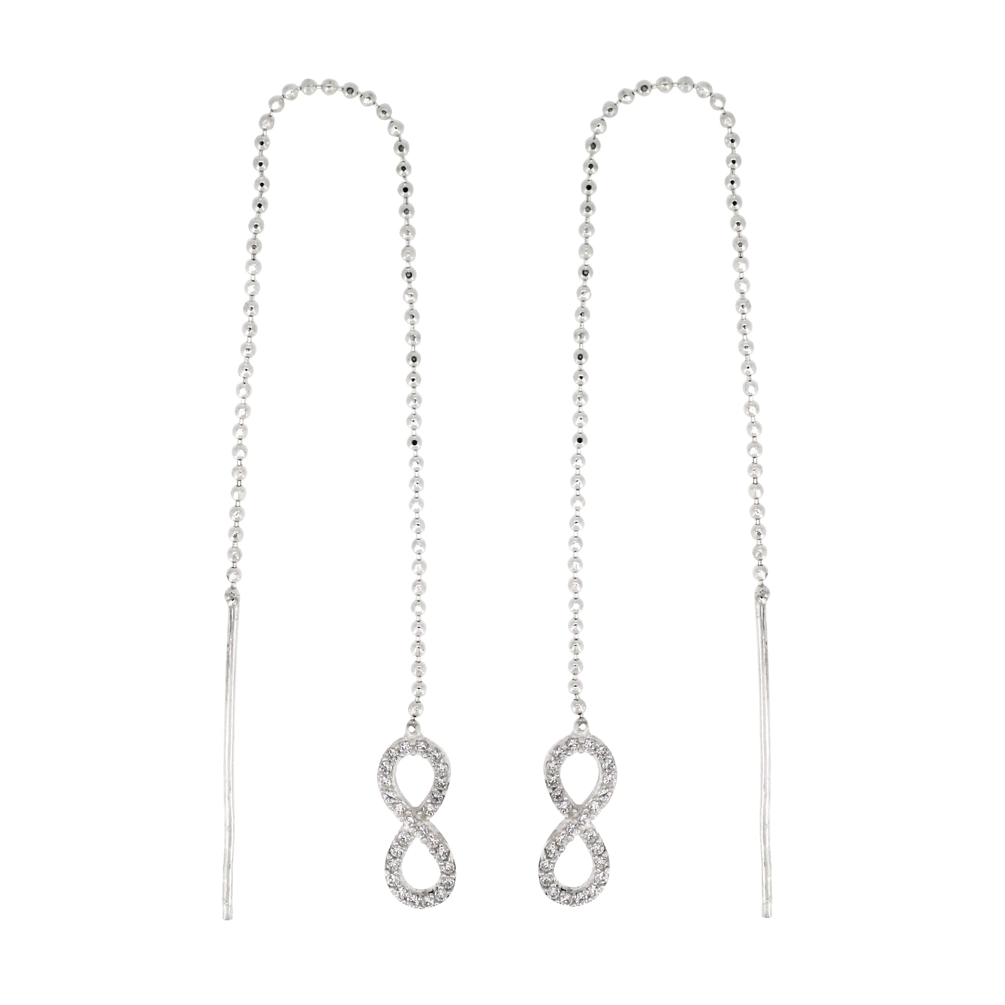 Link-Up Sterling Silver Infinity Thread Earrings