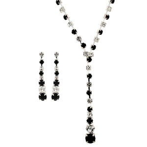 Hollywood Glamour Diamante Black and Crystal Necklace and Earrings