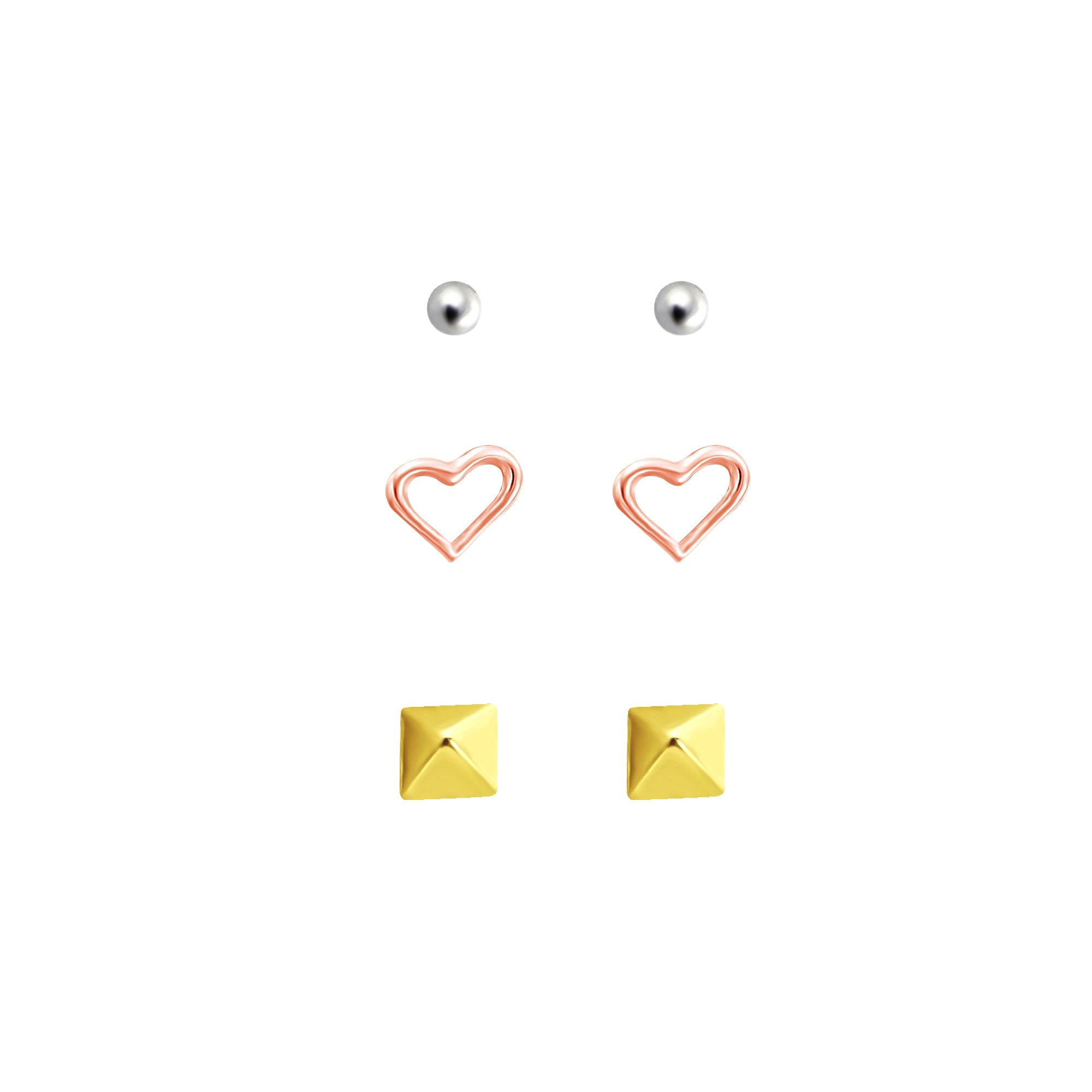 Link-Up Set of Three Rose Gold Plated Stud Earrings in Various Shapes