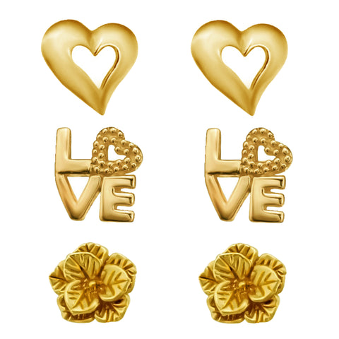 Link-Up Set of Three Gold Plated Heart, Love and Flower Stud Earrings