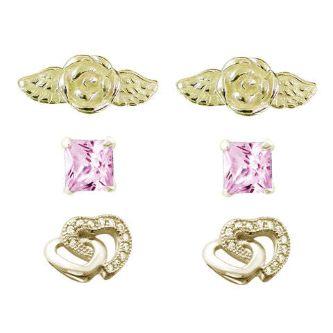 Link-UP Set of 3 Romantic Stud Earrings Gold Plated Sterling Silver