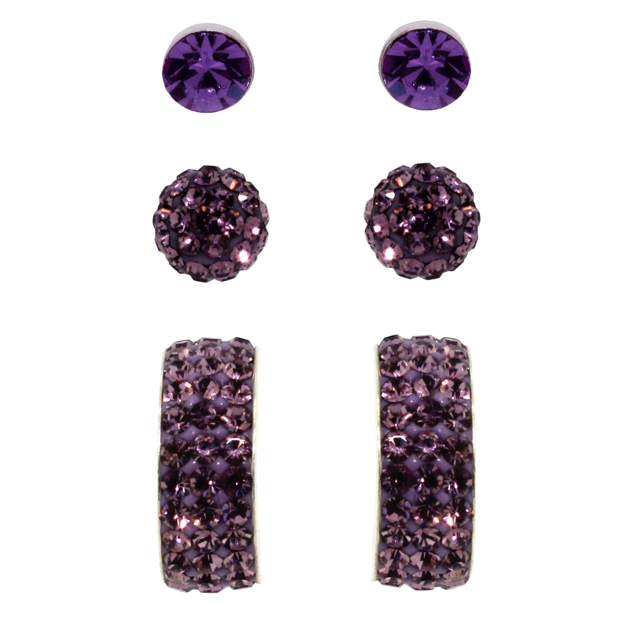 Link-UP  925 Sterling Silver Lilac Crystal Stud Earrings