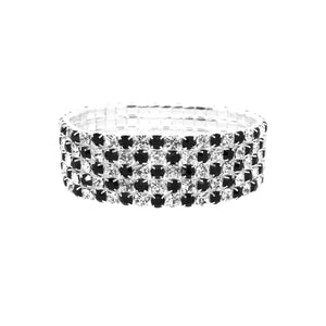 Hollywood Glamour Diamante Black and Crystal Stretch Bracelet