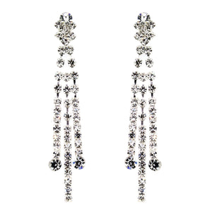 Hollywood Glamour Diamante Drop Earrings – 3 Rows