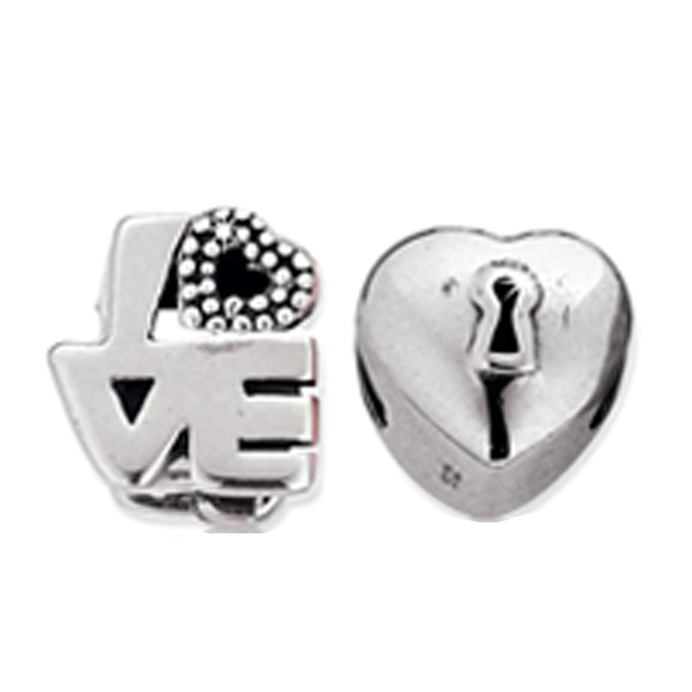 Miss Glitter Sterling Silver Love and Heart Charms