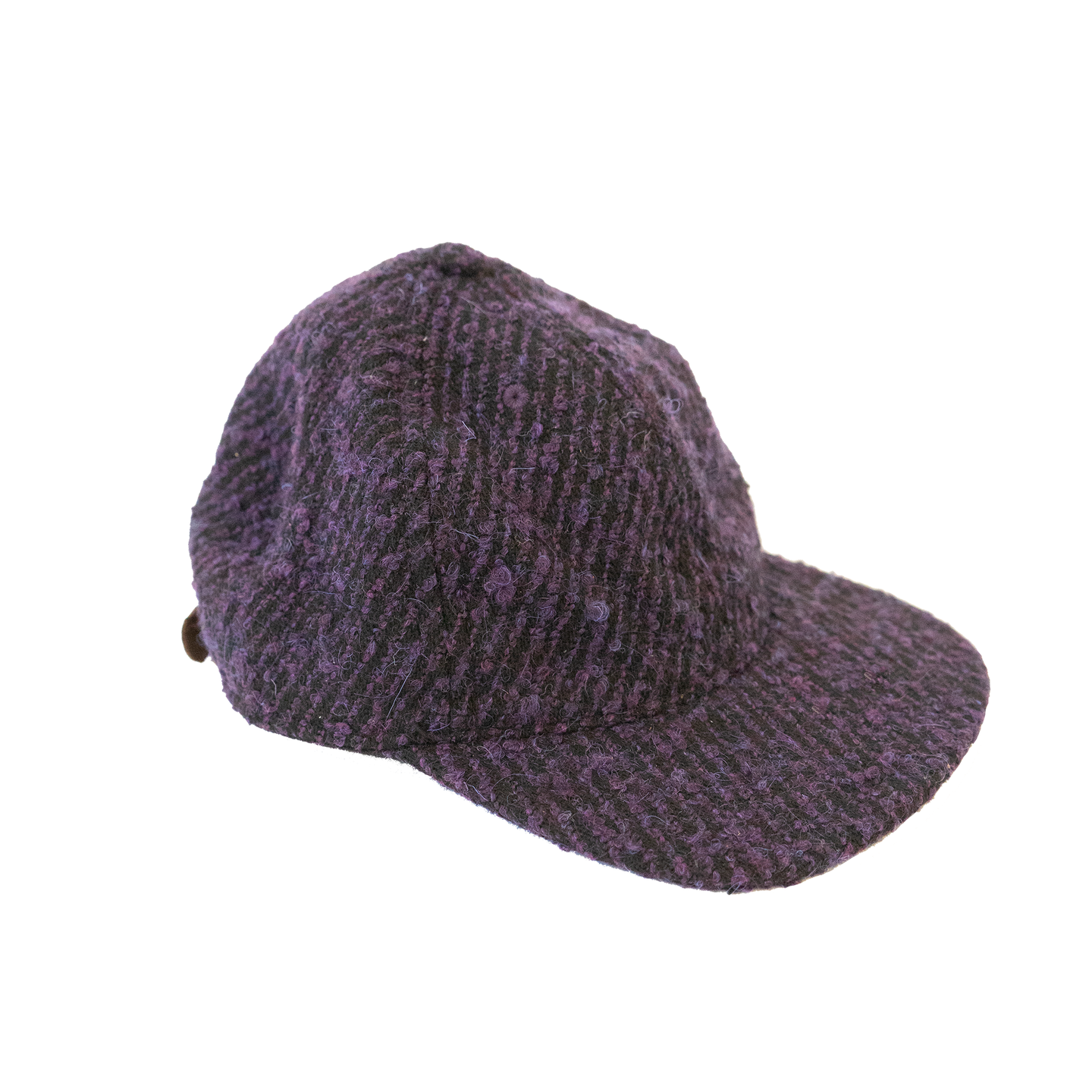 Adjustable Cap in Black & Purple Wool
