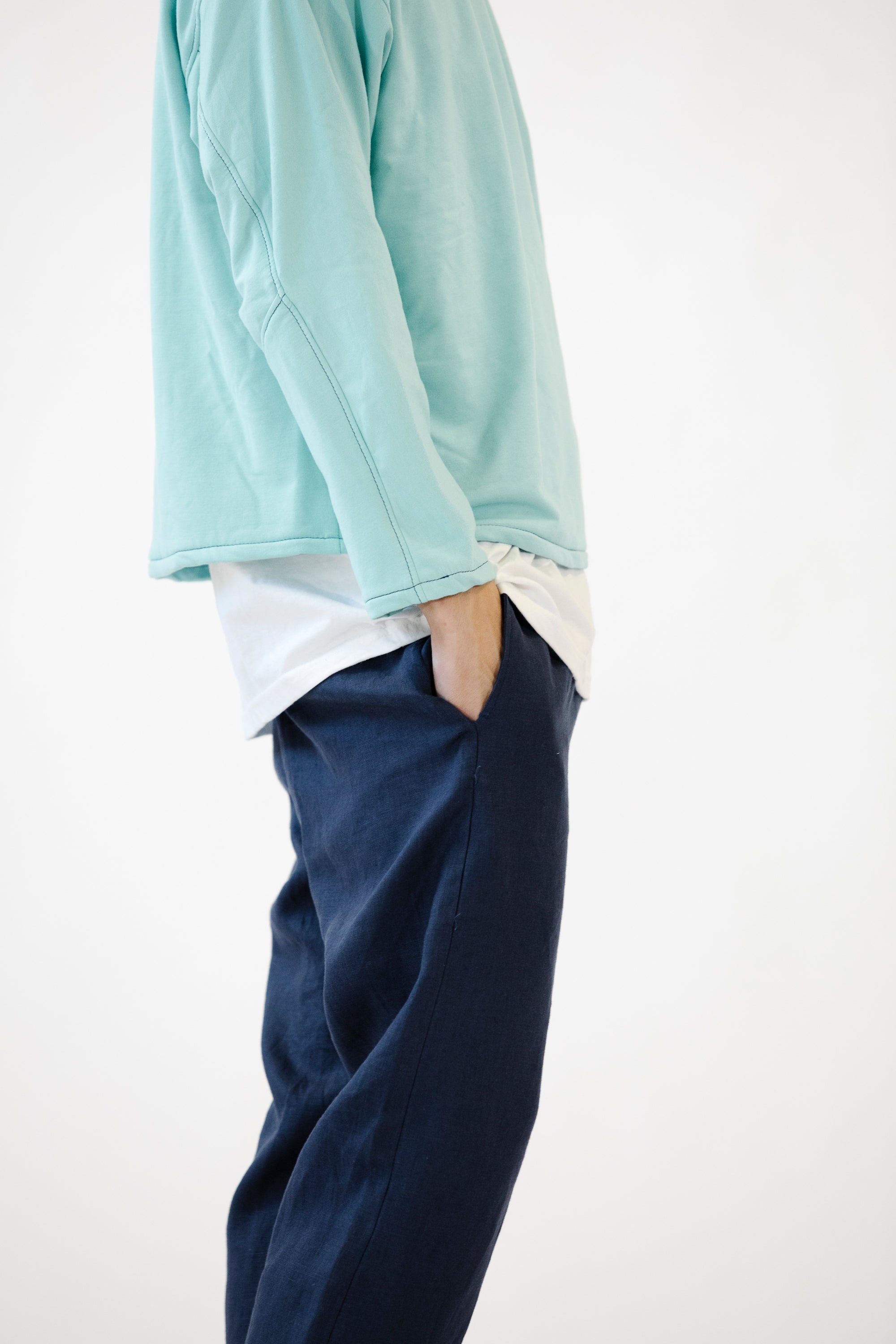 Collared Crewneck Aqua in Bamboo Fleece