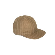 Load image into Gallery viewer, Adjustable Cap in Brown Pinstripe Linen