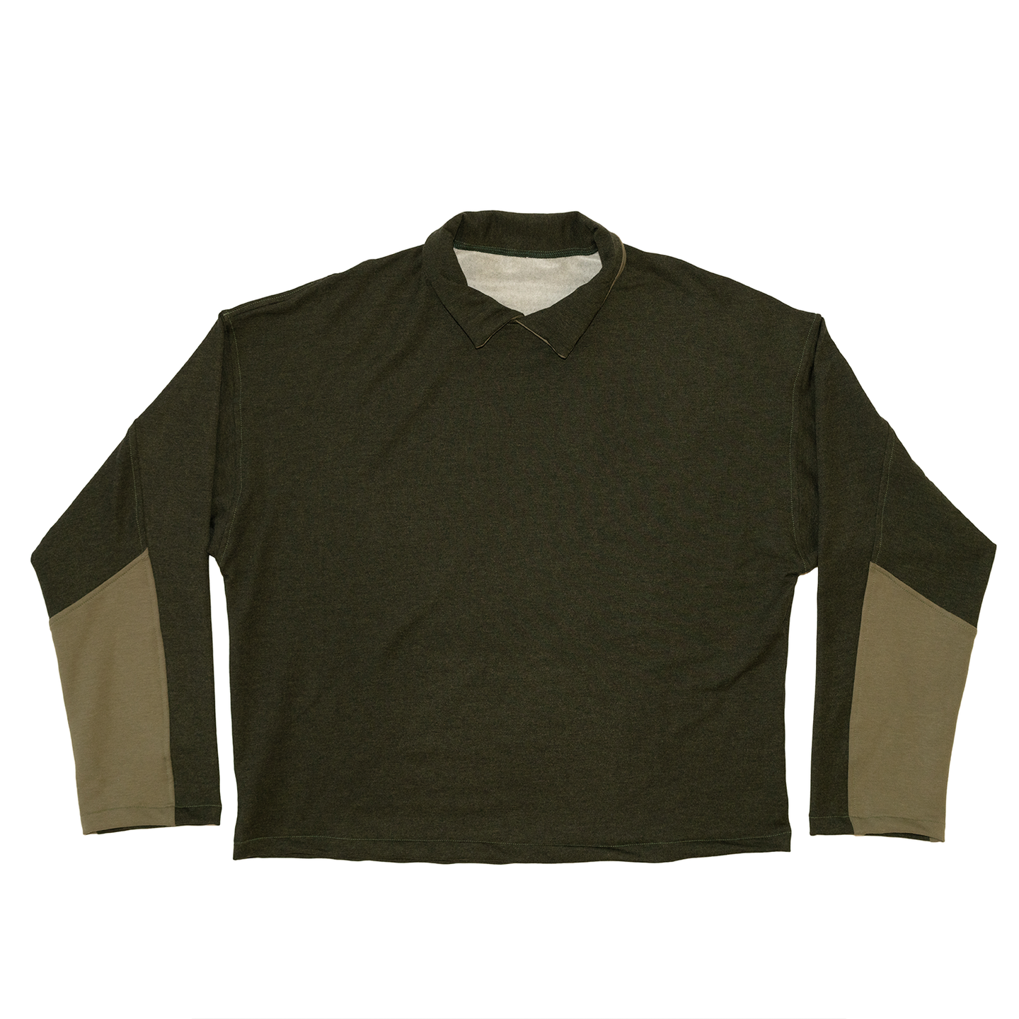 Collared Crewneck in Deep Forest