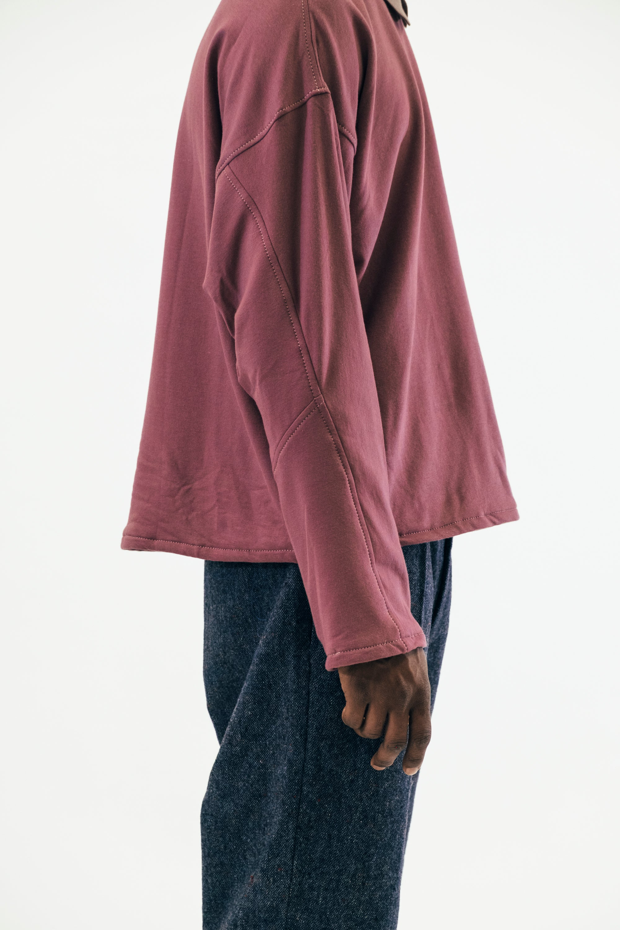 Collared Crewneck in Heathered Rose