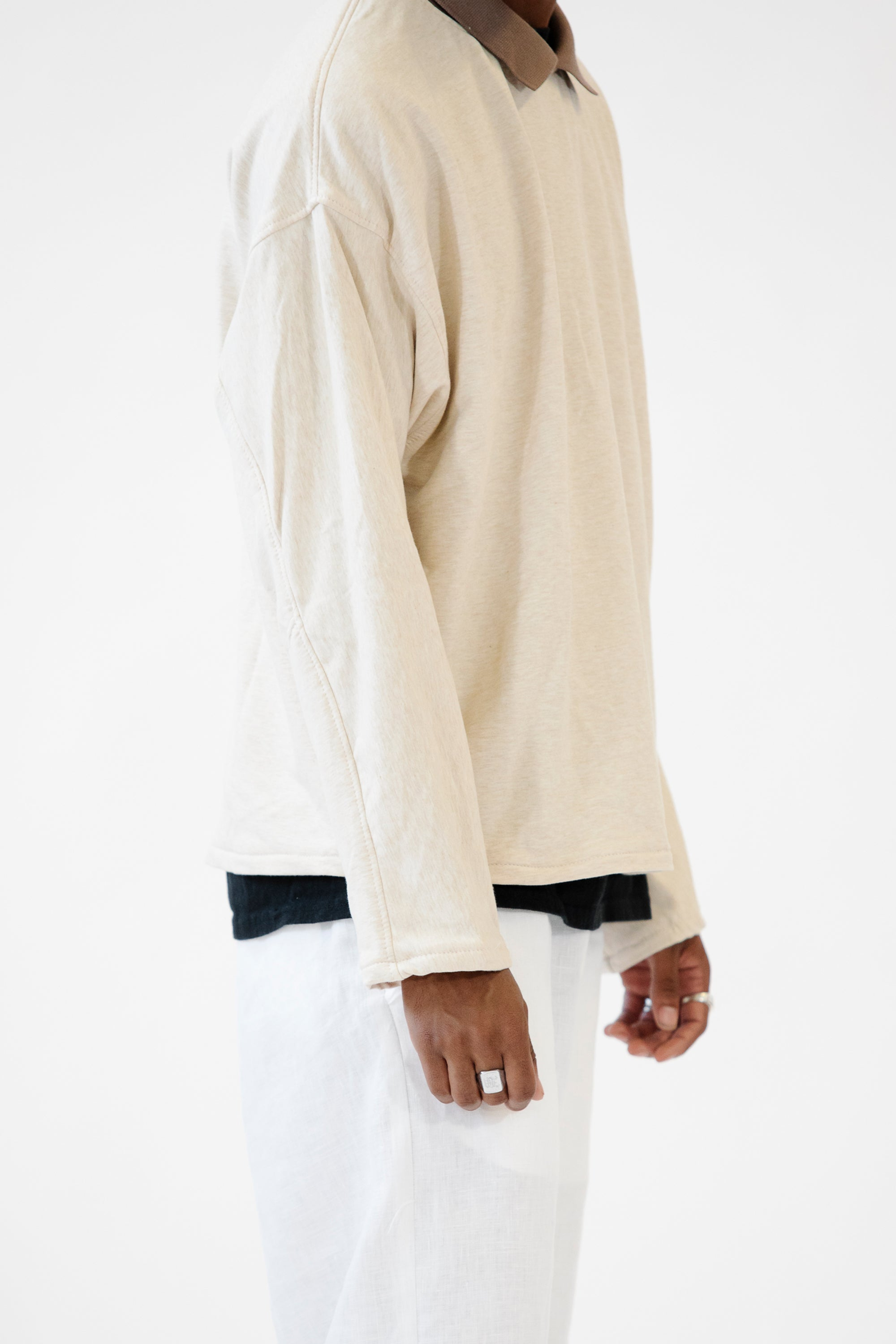 Collared Crewneck Oatmeal in Bamboo Fleece