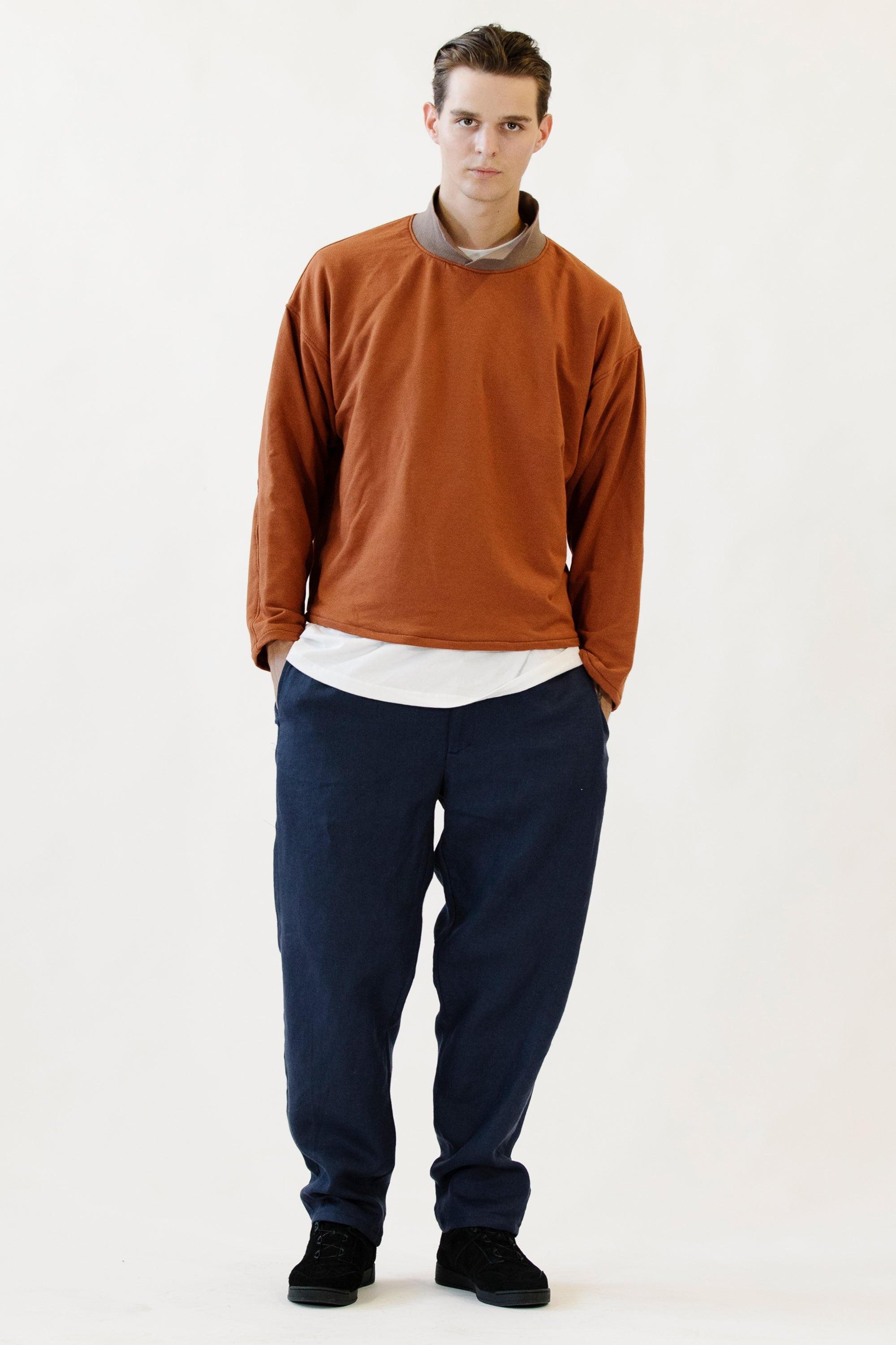 Collared Crewneck Rust in Bamboo Fleece