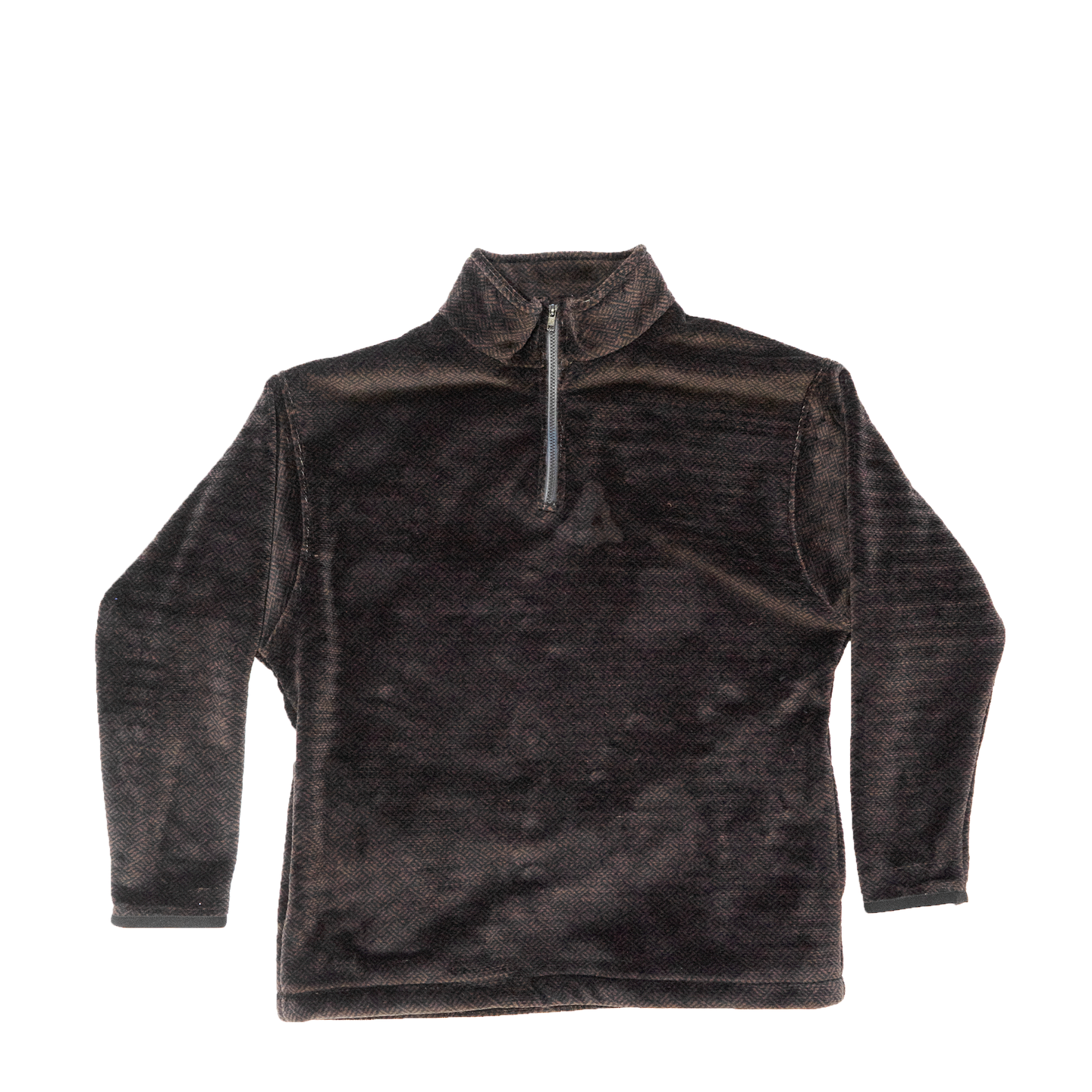 1/4 Zip Fleece in Deadstock Brown & Black Fabric