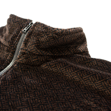Load image into Gallery viewer, 1/4 Zip Fleece in Deadstock Brown & Black Fabric