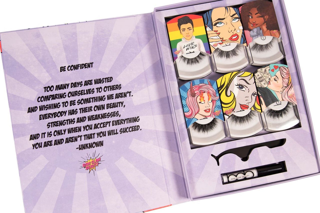 Bam Glam Beauty Lash Book (6 Piece Set + Lash Glue and Lash Applicator)