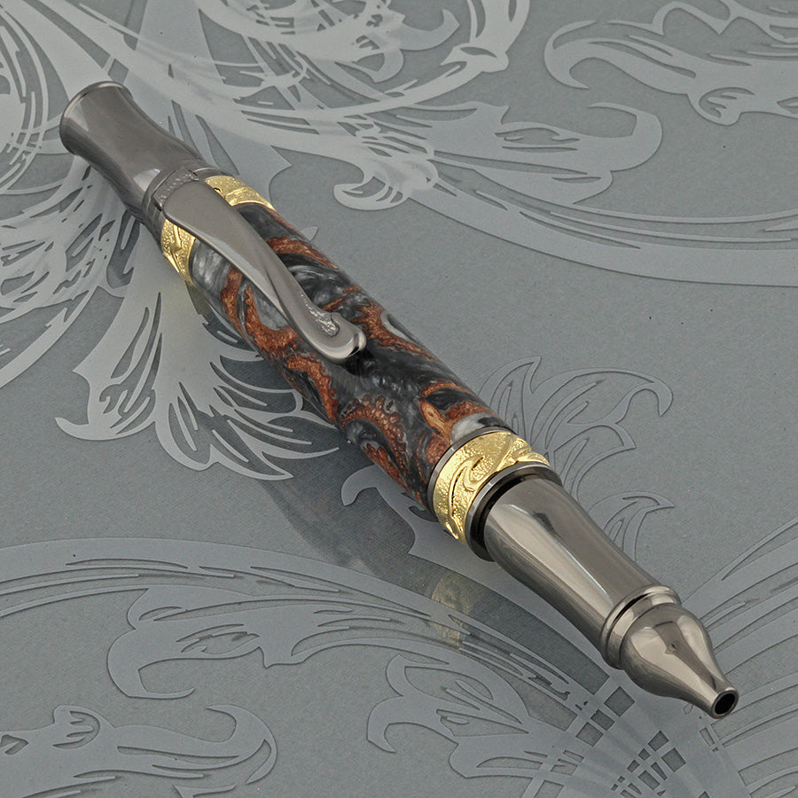 Nouveau Sceptre Pen in Acrylic & Acorns
