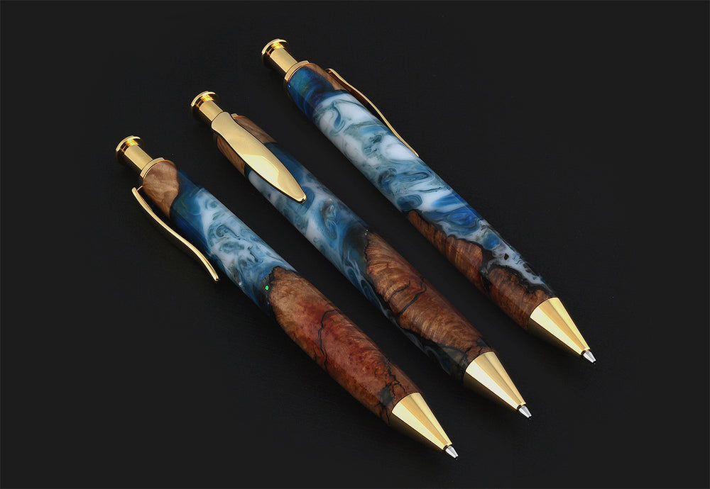Long Wave Pencil in Shoreline Acrylic & Mallee Burl