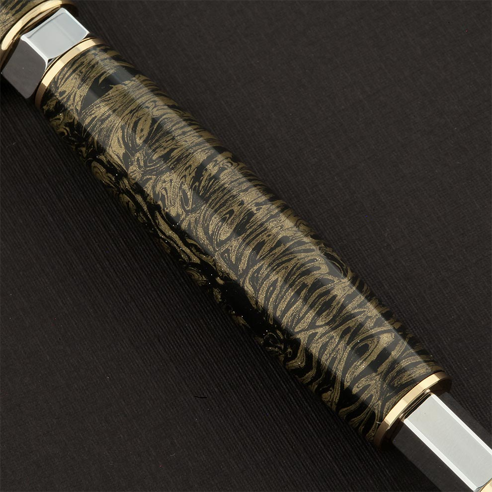 Vertex Supreme Fountain Pen in Black Gold M3 Mokume Gane