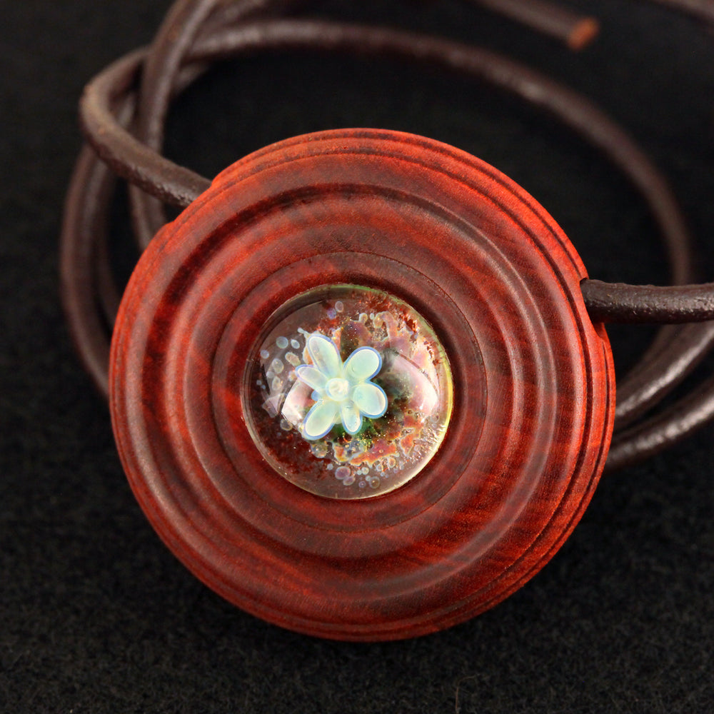 Amoeba Slick Implosion Wood & Glass Pendant