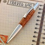 Manhattan Satin Chrome Pen in Maple Burl