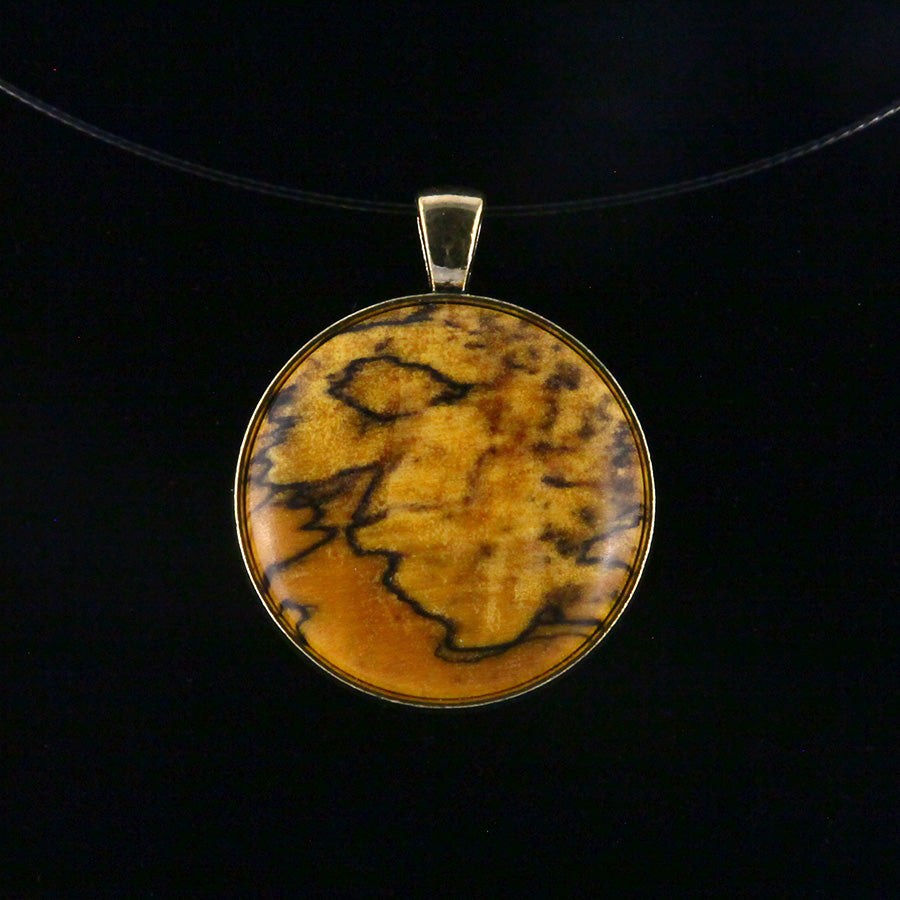 Wood & Metal Pendant: Spalted Maple (Yellow)
