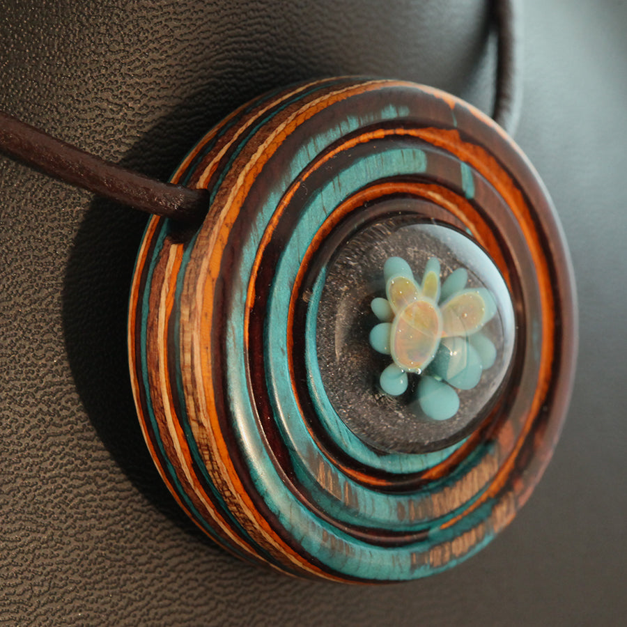Sunset Splash Wood & Glass Pendant