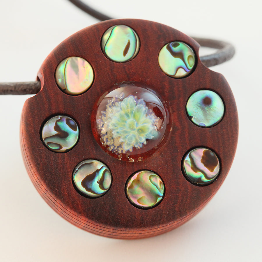 Many Moons Wood, Glass & Shell Pendant