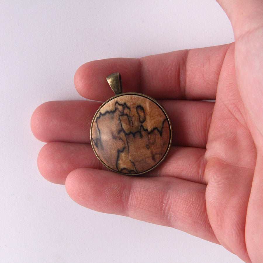 Wood & Metal Pendant: Spalted Maple (Natural)