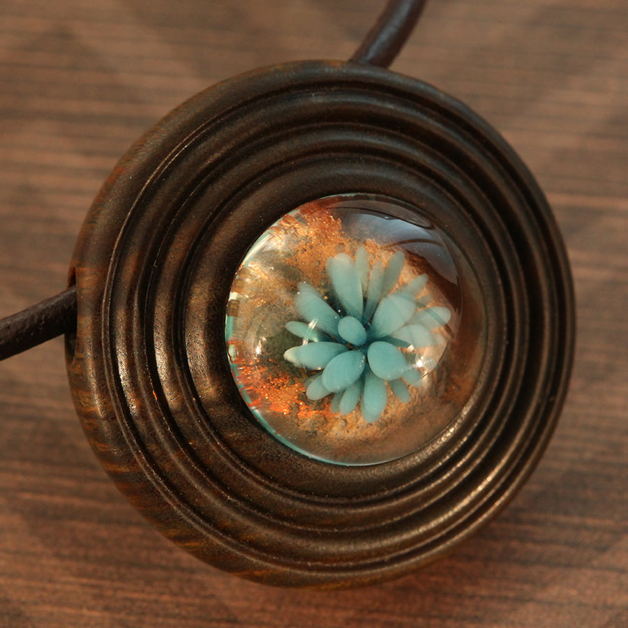 Golden Earth Wood & Glass Pendant
