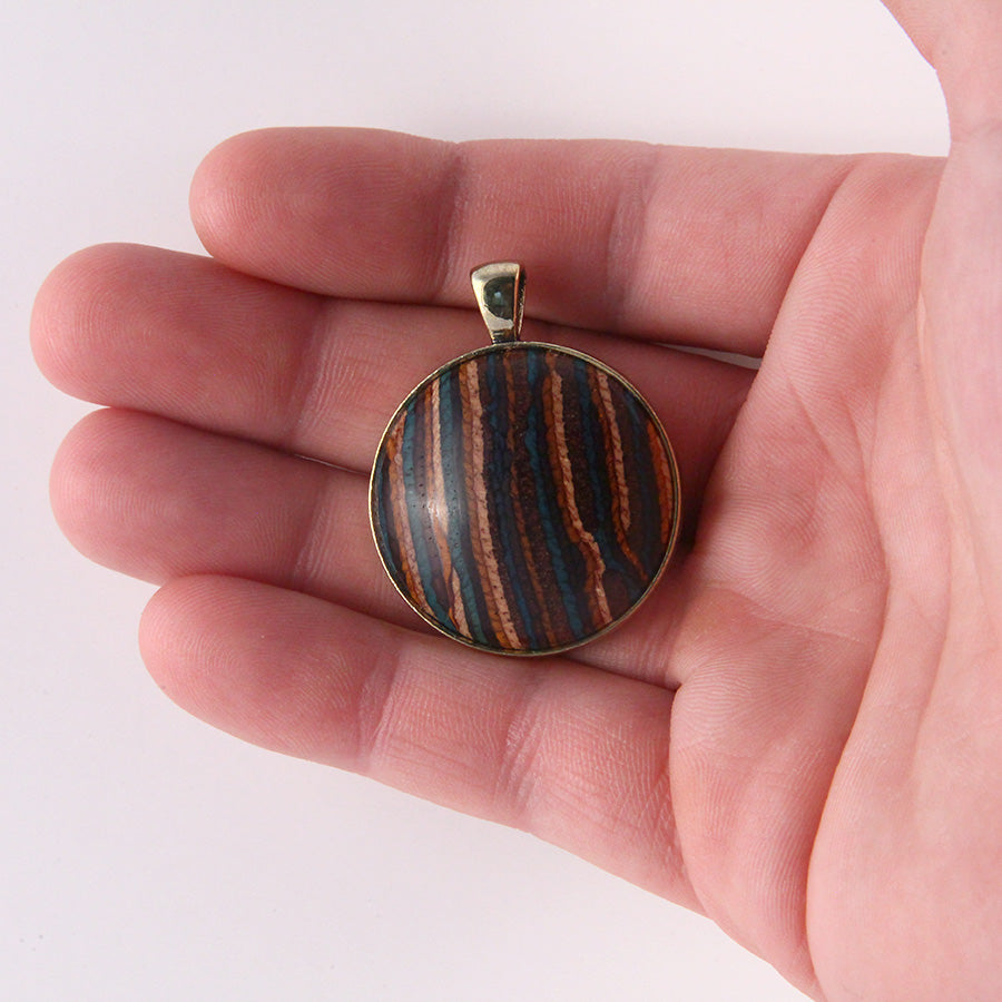 Wood & Metal Pendant: Southwest Gold