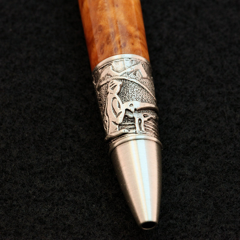Fly Fishing Pen in Brown Mallee Burl (Pewter)