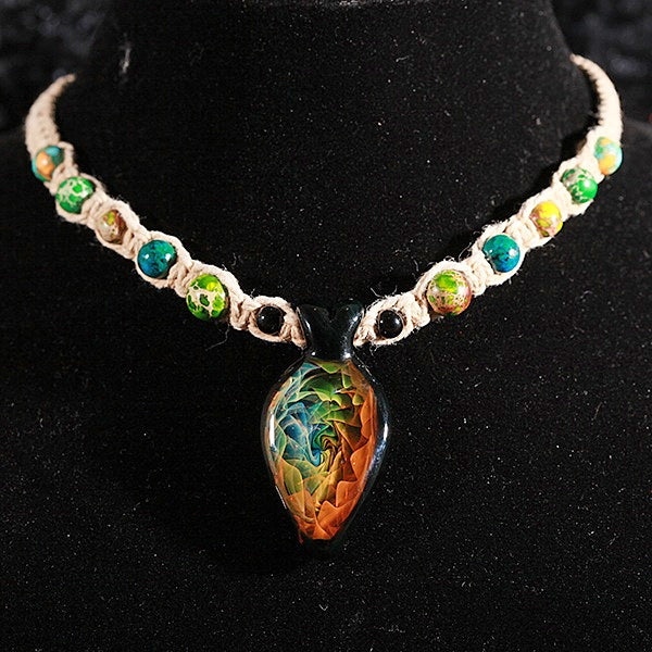 Rainbow Vortex Fumed Necklace