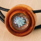 Little Flower Implosion Wood & Glass Pendant