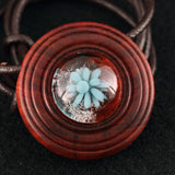 Frost and Petals Implosion Wood & Glass Pendant