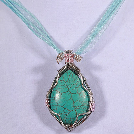 Turquoise Wire Wrap Pendent Necklace