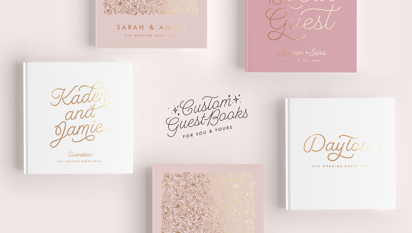 five white and pink hard cover books with text in middle that reads Custom Guest Books for you and yours