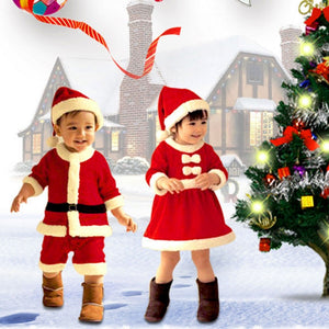 Childrens Christmas Bowknot Dress Clothing With Hat Santa Claus