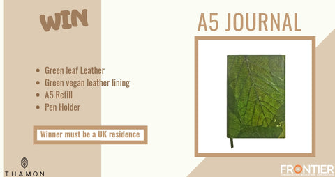 Leaf A5 Journal - Green leaf leather - THAMON