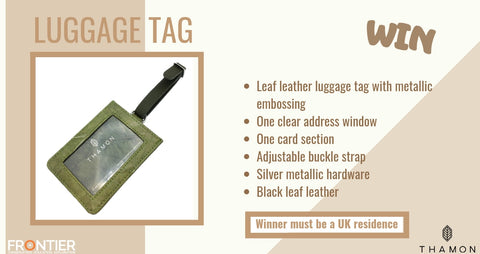 Leaf luggage tag - green leaf leather - THAMON