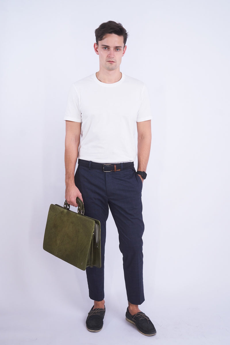 Briefcase - Green leaf leather | THAMON