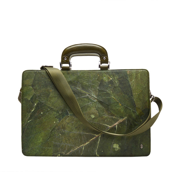 Thamon briefcase in green leaf leather