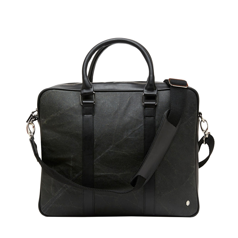 Cambridge briefcase-Business bag- Laptop bag -Black leaf leather-THAMON