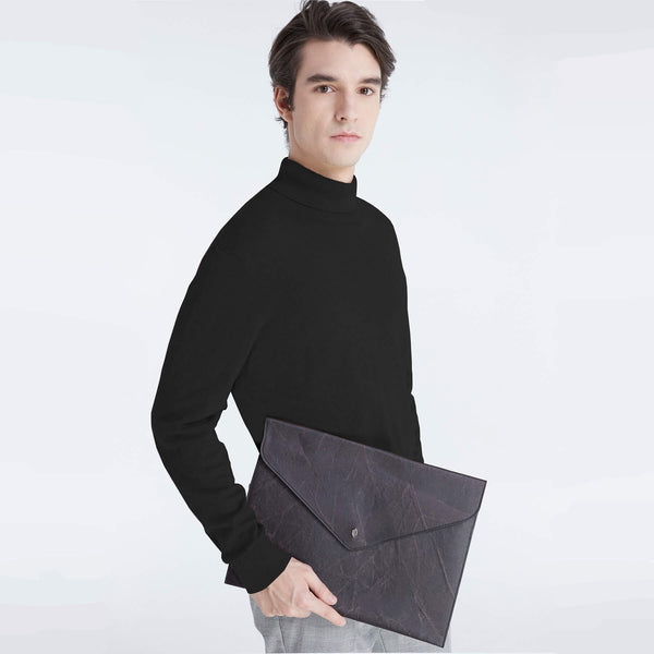 Envelope Clutch Bag in Black Leaf Leather