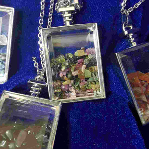 Crystal Chips in Square Bottle Pendant (assorted)