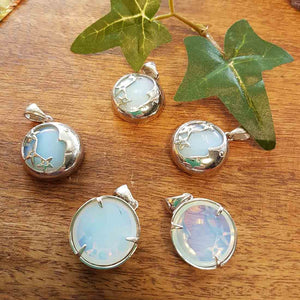 Opalite Pendant set in Silver Plate with Stars & Moons