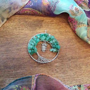 Aventurine Tree of Life Pendant with Owl