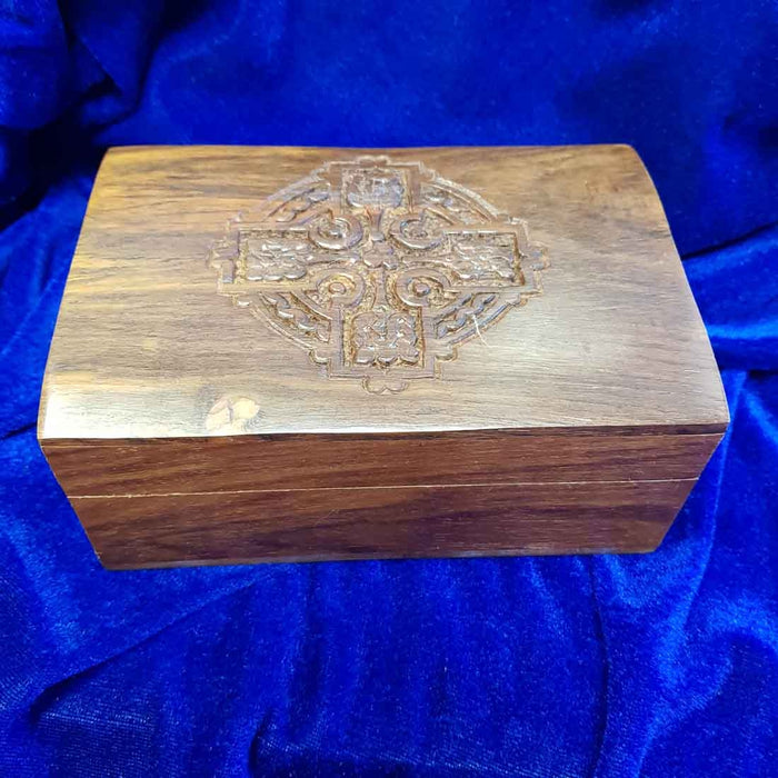 Carved Cross Wooden Box