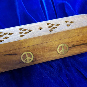 Peace Wooden Box Incense Holder